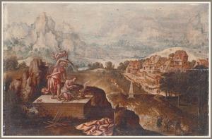 De engel weerhoudt Abraham Isaak te offeren (Genesis 22:10-13)