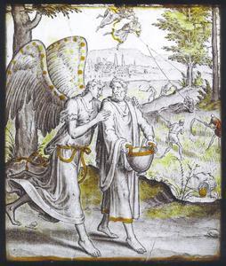 Habakuk en de engel onderweg met voedsel voor Daniel (Daniel 14:23-41)