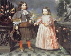Dubbelportret van Battista Chiavari (?-?) en Banetta Raggi (?-?) als verloofd stel