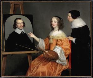 Portret van Margaretha Maria de Roodere (1627/1630-1666) en Maria van Putten (...-1655) met een portret van Gerard de Roodere (...-1655/1656)