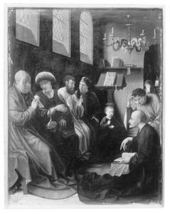 Altaarstuk met de Zeven Smarten van Maria: Christus en de schriftgeleerden in de tempel (linksboven)
