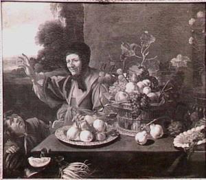 Vruchtenstilleven met oude vrouw