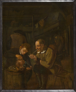 Een oude en een jonge man in een herberg
