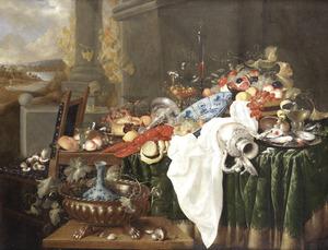 Pronkstilleven met siervaatwerk, kreeft en vruchten; links een doorkijk naar een landschap