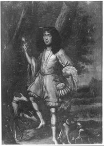 Portret van een man in jachtkostuum voor een landschap