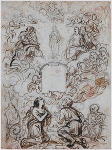 Maria Onbevlekte Ontvangenis vereerd door heiligen en Adam en Eva