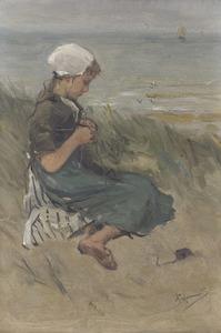 Breiend meisje op het duin