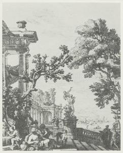 Figuren bij een fontein op een terras bij een mediterane baai
