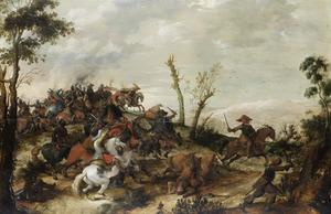 Heuvellandschap met een ruitergevecht