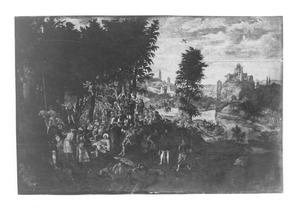 De prediking van Johannnes de Doper met op de achtergrond de doop van Christus