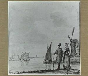 Rivierlandschap met twee figuren, zeilboten en een molen