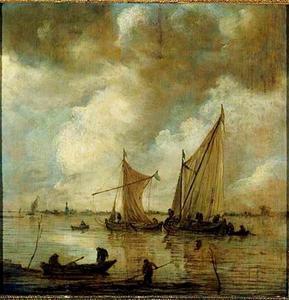 Riviergezicht met vissersboten