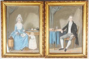 Portret van een zittende man; portret van een zittende vrouw met staand kind