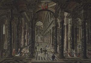 Barok kerkinterieur met elegante figuren
