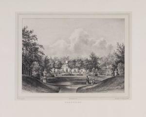 Park met vijver en doorkijk naar de hofstede Zorgvliet