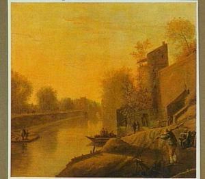 Utrecht, gezicht vanaf de berm aan de veldzijde van de stadswal over de Stadsbuitengracht met uiterst rechts het Mariawaterpoortje en op de achtergrond de Catharijnebrug