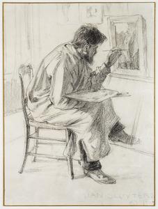 Portret van Jan Sluijters aan het werk