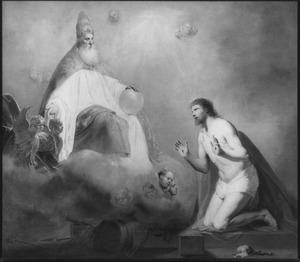 God de Vader wijst Christus in de hemel de zetel aan zijn rechterhand
