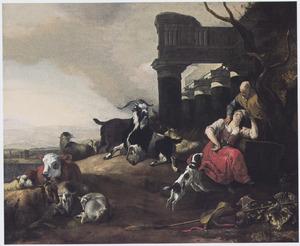 Zuidelijk landschap met slapende herderin en handtastelijke oude man