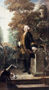 Portret van een man in een tuin, mogelijk Jan Lucas van der Dussen (1724-1773)
