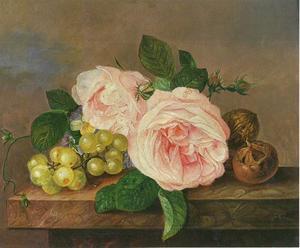Bloemstilleven van rozen, violen en druiven