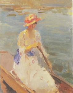 Jonge vrouw roeiend op de Thames