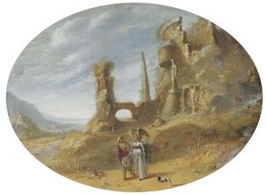 Italianiserend rotslandschap met Tobias en de engel temidden van ruïnes