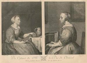 Jonge vrouw met etenswaren zittend bij een tafel en Jonge vrouw aan het virginaal