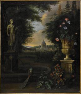 Parklandschap met een pauw bij een fontein, de St. Pieter in de achtergrond