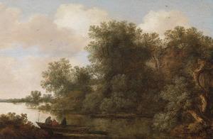 Rivierlandschap met vissers in een boot