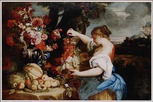 Jonge vrouw bij een uitstalling van bloemen en vruchten in een landschap