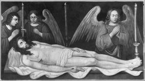 Christus beweend door drie engelen