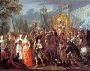 De triomf van David na zijn overwinning op Goliat  (1 Samuel 17:54)