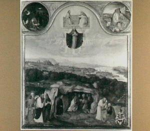 De tenhemelopneming van Maria. Langs de bovenlijst: de H. Jacobus, de geboorte, de aanbidding van de Wijzen, de hemelvaart, de opstanding en de H. Hieronymus