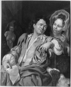 Een jonge vrouw verleidt een man met een brief in zijn hand