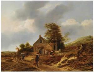 Duinlandschap met boeren en vee rondom een boerderij, de St. Bavo in Haarlem aan de horizon