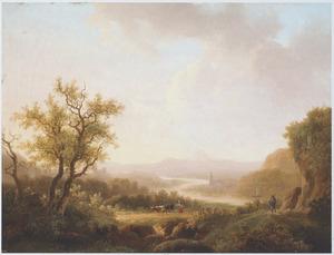 Bergachtig rivierlandschap met herderin met koeien