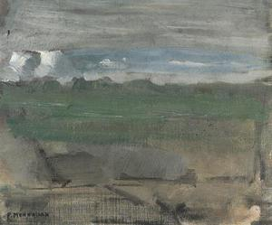 Underpainting of landscape with high horizon