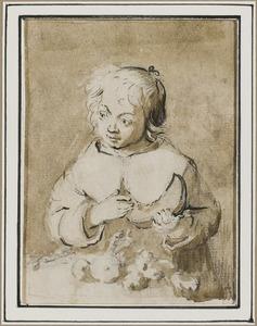 Anna of Sara ter Borch met schijf meloen, zittend aan tafel