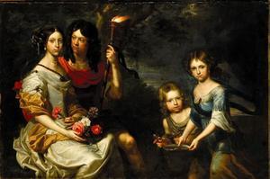 Portret van een echtpaar met twee kinderen