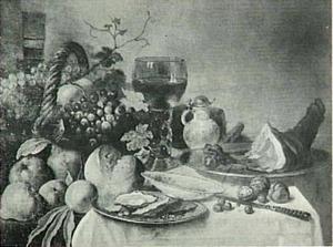 Stilleven met fruit, oesters, ham, brood glazen en voorwerpen van aardewerk
