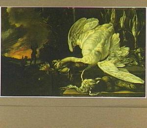 Jachtstilleven met een zwaan, een fazant en ander gevogelte tegen een avondlucht