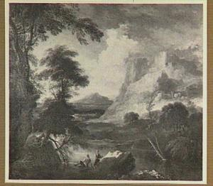 Bergachtig rivierlandschap met twee figuren in de voorgrond