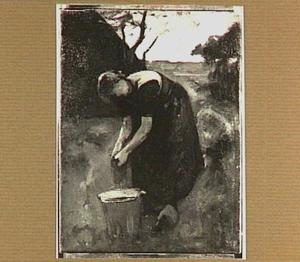 Boerenvrouw aan het werk