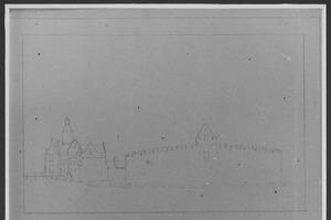 Voor- en rechterzijde van het slot Marquette bij Heemskerk
