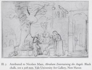 De drie engelen op bezoek bij Abraham voorzeggen hem wederom de geboorte van een zoon. Sara luistert  vol ongeloof toe (Genesis 18:8-13)