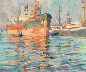 Boten in de haven van Amsterdam