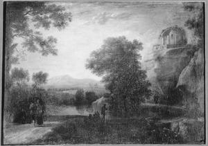 Zuidelijk landschap met de ruïne van Minerva Medica