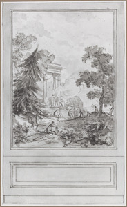 Behangselvlak met uit een ontwerp voor een zijwand met een arcadisch landschap