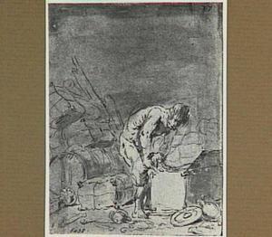 Lazarillo pakt een zak met goud uit de kist in het scheepsruim (Lazarillo de Tormes dl. 2, cap. 3, p. 66)